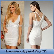 Style Number V008 unique design white bandage dress deep v-neck white dresses