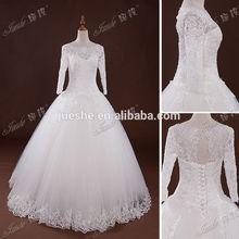 Elegant 3/4 Long Sleeve Beaded Lace Princess Ball Gown Wedding Dresses