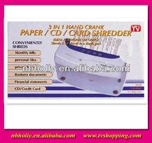 TV403 3 in 1 New design hand crank card/paper/CD shredder