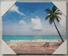 Sea beach & Coconut tree Giclee Canvas Painting Wall art for outdoor using
