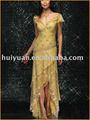 de oro de gasa vestido de noche con mangas