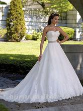 elegant white lace ball gown long train sleeveless rhinestone belt for wedding dress