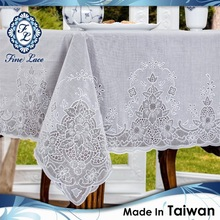 PVC EMBOSSED LACE TABLECLOTH WHITE