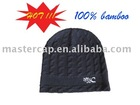 Organic Bamboo Knitted beanie hat with Flat Embroidery