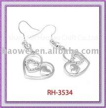 RH-3534 for valentine's day Earrings Heart Dangle Earrings rhinestone two hearts in one heart frame