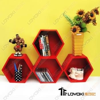 Regular hexagon bookcase