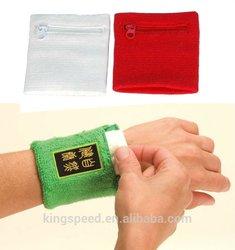 fashion cheap sport cheap wristband with zipper pocket