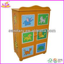 Kids cheap colorful wooden toy wardrobe (WJ278035)