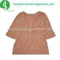 las señoras de moda de manga corta cuello de diseño de blusa
