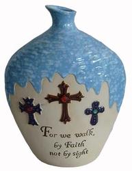 Pupolar glazed vase decoration with cross design