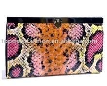 Lady wallet with orange and pink snakeskin flip Lock