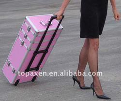 Rolling Makeup Case on Aluminum Makeup Artist Cosmetic Train Case Box Kit Bag