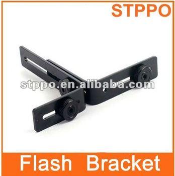 Metal Dual L-Shape Flash Bracket Holder Mount for Speedlite DSLR SLR Camera