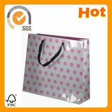 pink polka dot paper shopping bags