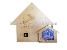 Modern Wooden cuckoo wall clock with photo frame