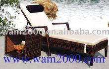 Alu. PE wicker lounger for outdoor