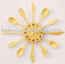 Bamboo Spoon & Fork knife wall clock & kitchen clock