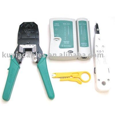 LAN Cable Crimper+Tester+RJ11 RJ45+Striper+Impact Tools