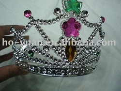 wholesale hot selling plastic Princess feather acrylic stone crown /girls tiaras