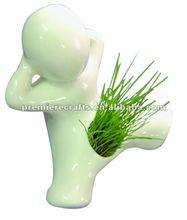 White kicking Boy Grass Head Ceramic Porcelain Planter