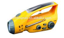 multifunction flashlight AM/FM emergency alarm hand power generator