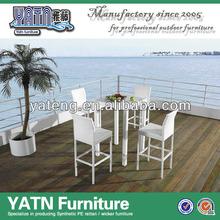 Outdoor rattan furniture bar stools and table set bar settings