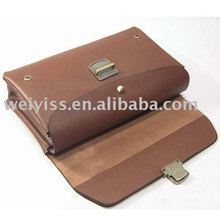 Promotion brown leather brief case , leather briefcase bags western style