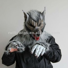 HOT SALE horrible wolf latex mask for halloween +With fur gloves