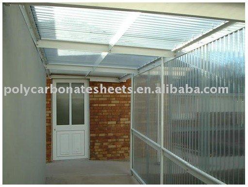 Claro de policarbonato canopy toldo material para techos - Techo transparente policarbonato ...