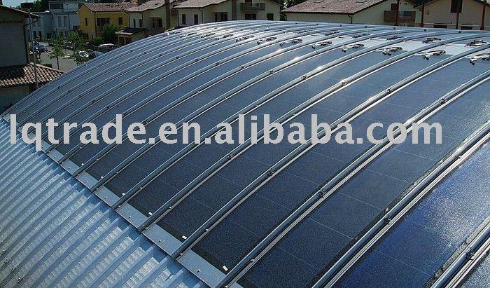 Sistema de material para techos del panel solar de la película fina