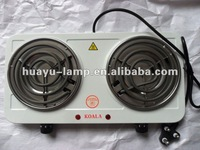 2000W TWO BURNERS WHITE SOLID ELECTRIC STOVE