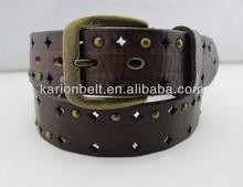 Men fashion original genuine leather cause metal belt