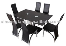 stainless pipe dining table/ black color glass dining tale
