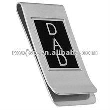 Stainless Steel Mens DAD Silver Black Cash Money Clip Credit Card Wallet Holder