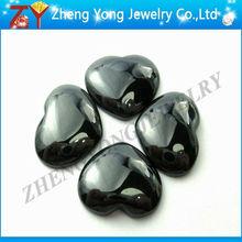 black cabochon loose gemstone beads with machine cut,heart shape gems