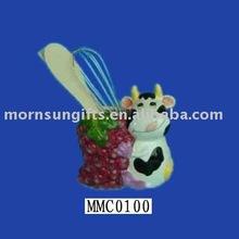 Wholesale Adorable Porcelain Painted Cow Chopstick Holder