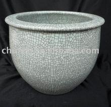 white crackled ceramic fish bowl WRYPL11