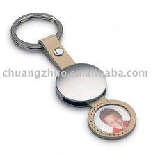 Fashion Metal Round Photo Frame Key Chain.retractable metal key chain,photo insert key chain,sublimation metal key chain