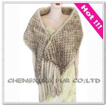 CX-B-M-01 Genuine Sunlight Mink Fur Latest Decorating Ladies Winter Shawl