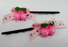 Cherry Resin accessories and Ribbon bow hair bobby pin, fancy hair pins