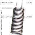 titânio trocador de calor de água de refrigeração da bobina para água do mar