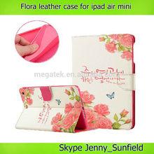 for ipad mini case folio ,flora folio Leather case for ipad mini , for ipad case leather