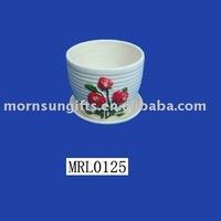 Terracotta glazed white mini clay flower pots for garden decor
