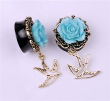 Wholesale Blue Rose Shaped Ear Plug Dangle Flying Bird Alloy Ear Plug Black Ear Plug Body Piercing Jewelry