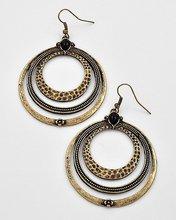 Burnished Gold Tone / Jet Acrylic / Lead & Nickel Compliant Metal / Circle Dangles / Fish Hook Earring Set
