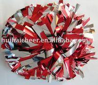 cheerleader pom pom: metallic silver mix red