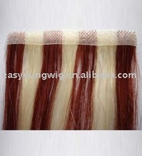 Wine-red skin weft Straight hair extension, stick hair