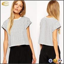 Ecoach Wholesale Short Sleeve Ladies Striped Custom Crop Top