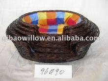 dark brown wicker cat basket
