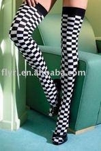 Checkerboard Thigh High Stockings